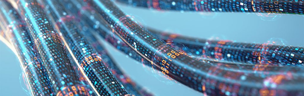 Optical fibre cables facilitate high-speed data transfer.