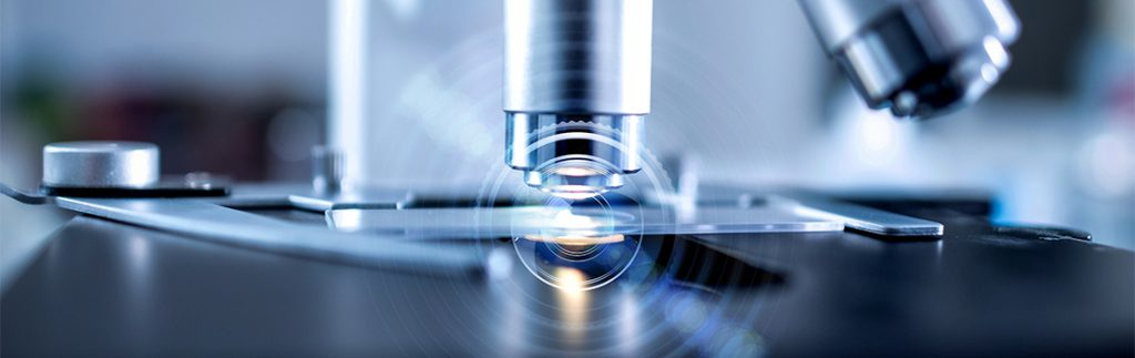a slide beneath a microscope