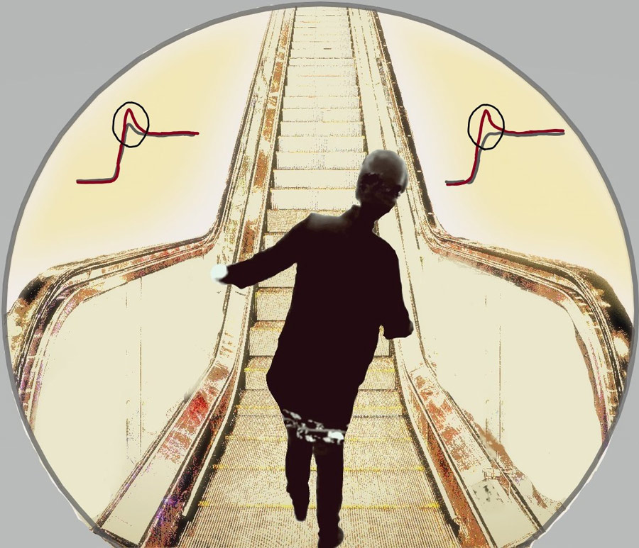 illustration of a person on an escalator