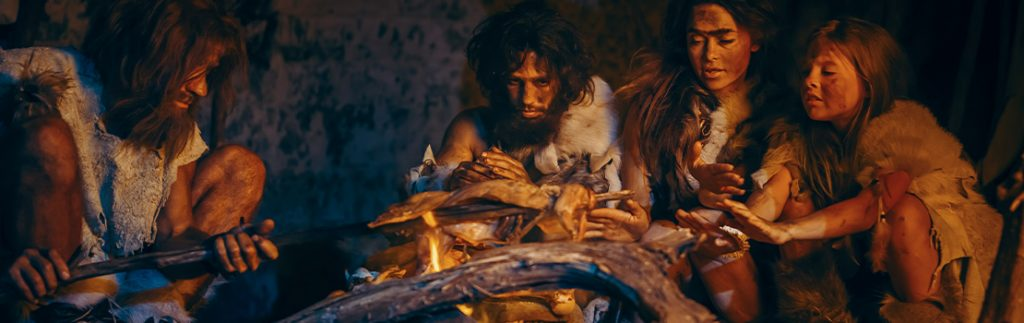 early modern humans gathered in a cave