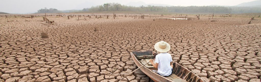 A rowing boat atop a patch of parched earth