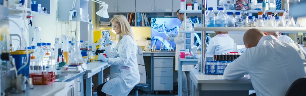 scientists undertake tests in a laboratory