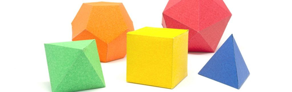 polyhedral shapes in a variety of colours