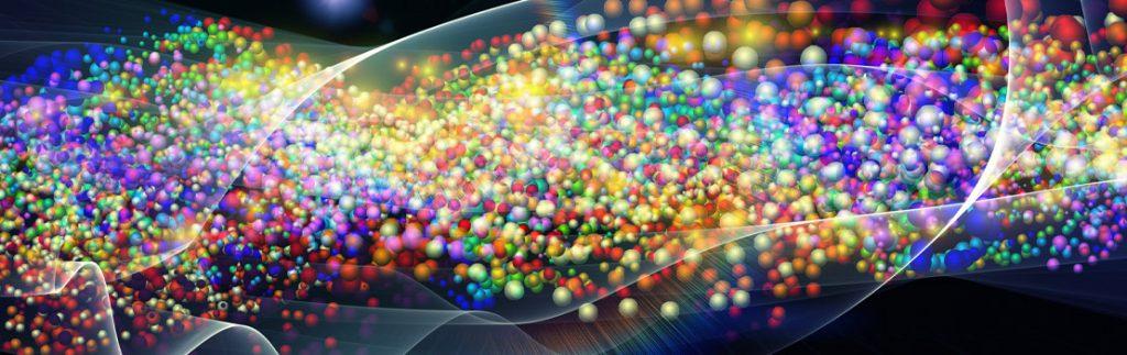 vibrant graphic representing quantum particles
