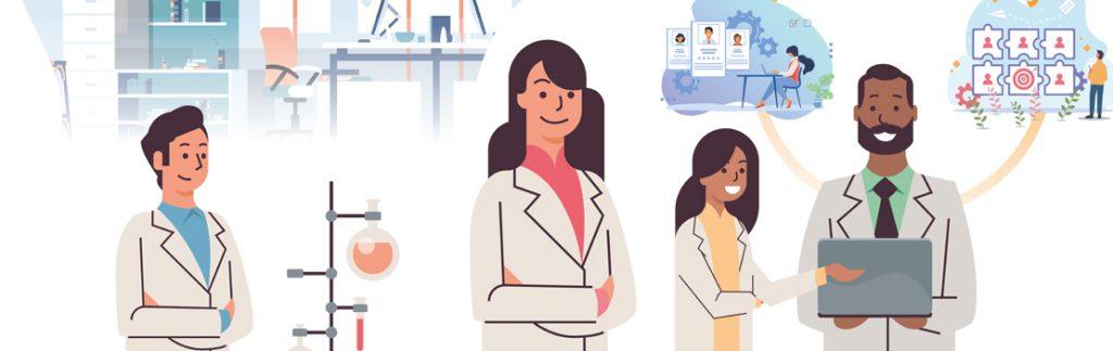 graphic showing diverse scientific hiring